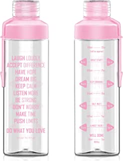 Artoid Mode 25oz Motivational Fitness Workout Sports Water Bottle with Time Marker & Measurements, Carbonation Friendly Dishwasher Safe and BPA Free
