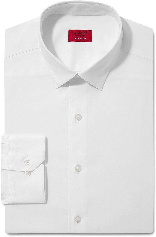 Alfani Performance Stretch Silver Zig Zag Dress Shirt Mens 15 15.5 34//35 New