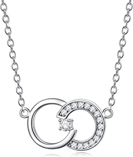 Sterling Silver Diamond 1 Stone Infinity Necklace for Women, Double Circle Love Anniversary Jewelry for Her (0.03ct) 16