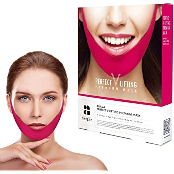 Avajar Perfect V Lifting Premium Mask 5pcs - V Line Mask   Face Lifting Mask   Face Slimmer   Chin Strap For Double Chin Remover   V Shaped Slimming Face Mask   Double Chin Mask