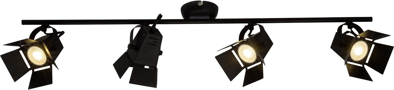 Moderne LED Deckenleuchte   Deckenspot, 4x LED GU10 5W inkl., 4x 345 Lumen, 3000K warmwei, Metall, schwarz matt