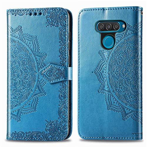 Bear Village Hülle für LG Q60 / LG K50, PU Lederhülle Handyhülle für LG Q60 / LG K50, Brieftasche Kratzfestes Magnet Handytasche mit Kartenfach, Blau