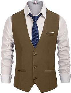 PJ PAUL JONES Men's Slim Fit Business Dress Suit Vests 3 Button Formal Waistcoat, Brown, XXL