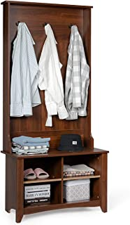 Tangkula Hall Tree, Entryway Wooden Hall Tree with Storage Bench, Entryway Storage Organizer, Coat Rack Shoes Bench with 3 Hooks, Perfect for Entryway, Dorm Room, Apartment (Brown)