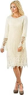 Mikarose Women's Lydia Crochet Overlay Long-Sleeve Modest Dress
