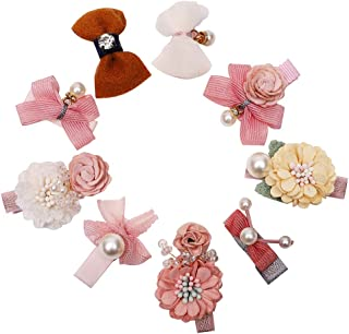 Tiny Flowers Pearl Clips-Arnzrmo Girls Hair Bows Barrettes Lined Alligator Clips for Baby Toddler Kids