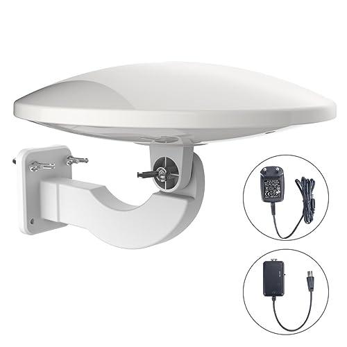 1byone Antena de TV de exteriores de 32dB con amplificador Antena aérea digital de TV Recepción de HDTV, DVB T / DVB T2 y señales analógicas, con filtro 4G LTE incorporado