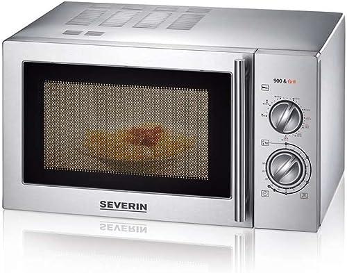 SEVERIN Four Micro-ondes, Gril, 22L, jusqu'à 1 000W, 9 niveaux de puissance, Plateau tournant amovible (Ø 27 cm), Ino...