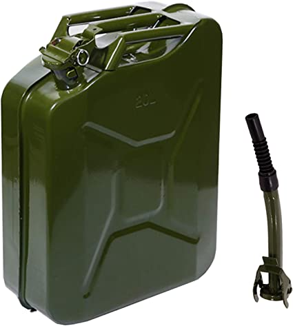 Teekland 5 Gallon 20L Metal Gas Tank Can (US Stardard) Gas Can Power Emergency Backup Tank with Flexible Spout Green (1): image