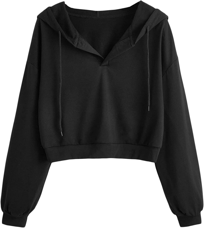 Verdusa Women's Plus Long Sleeve V Neck Drawstring Hoodie Crop Top Sweatshirt