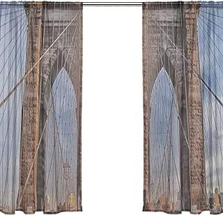 RH Studio Sheer Curtain Drape 2 Panel Brooklyn Bridge Suspension Bridge Door Window Gauze Curtains for Living Room Bedroom Office(55x78inch)