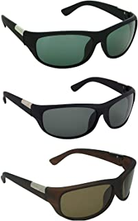 Dervin UV Protection Sports Biker Sunglasses for Men and Women (Green, Black, Brown) - Combo of 3