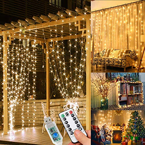WEARXI 300 LED Fairy Curtain Gazebo Lights - 3M 8 Modes String Lights Bedroom, Hanging Wall Waterfall Lights for Indoor, Outdoor, Christmas, Wedding, Party, Window Home Decoration