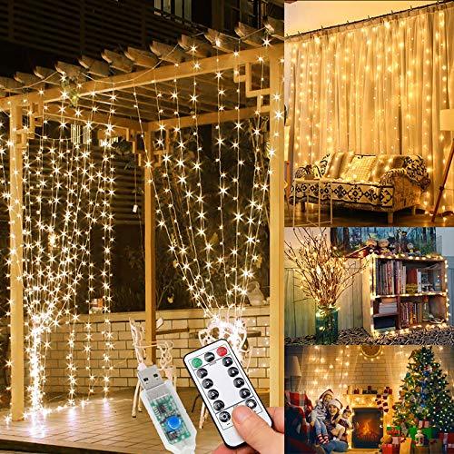 Tenda Luminosa - Luci da Esterno Giardino, 3M 300LED Luci Led Decorative per Natale 8 Modalità Luci Led luminarie da Esterno per Anno Nuovo, Matrimonio, Portico, Casa, Interno, luminarie da Esterno