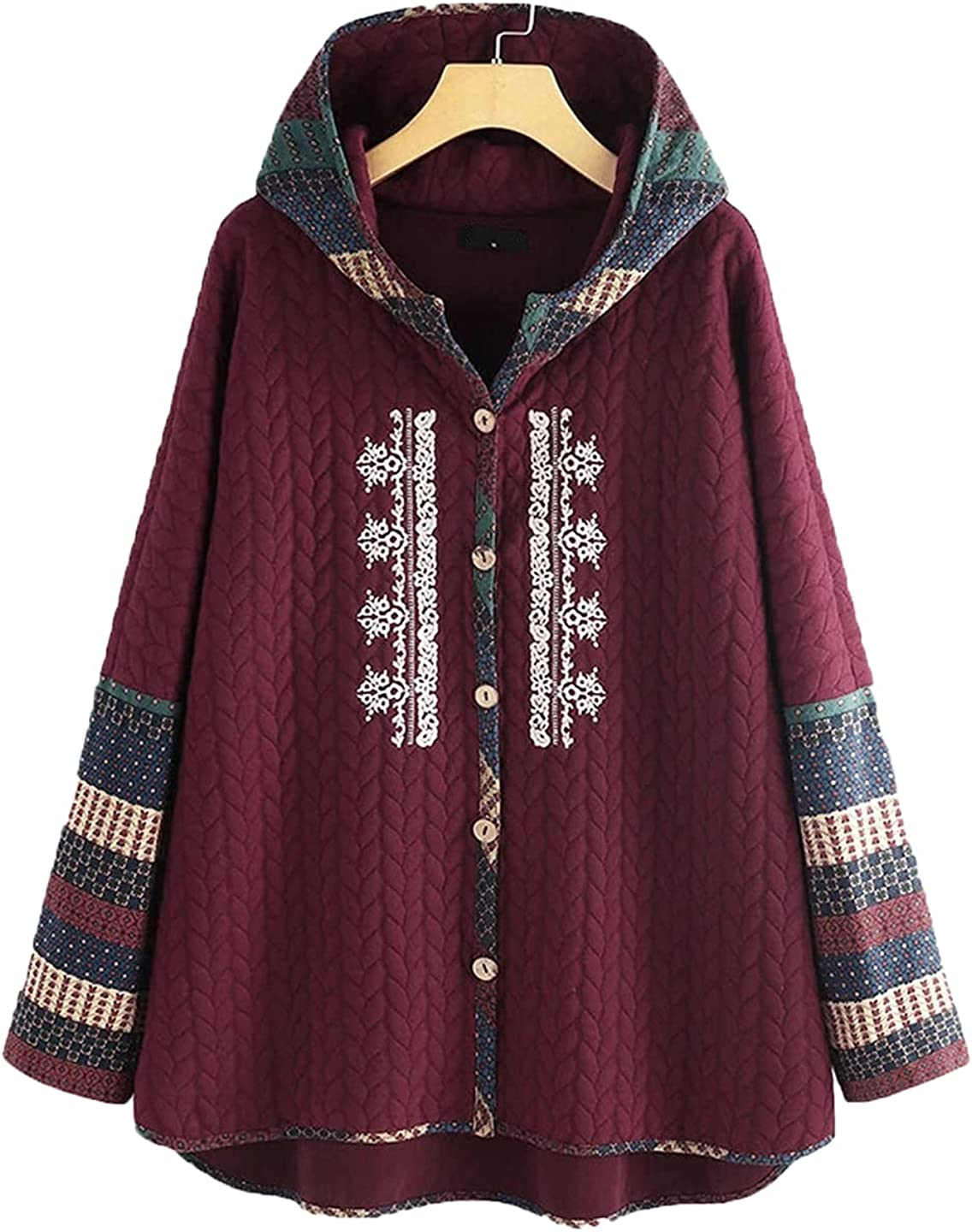Women Colorful Print Faux Fur Jacket Lining Hooded Casual Pockets Coats