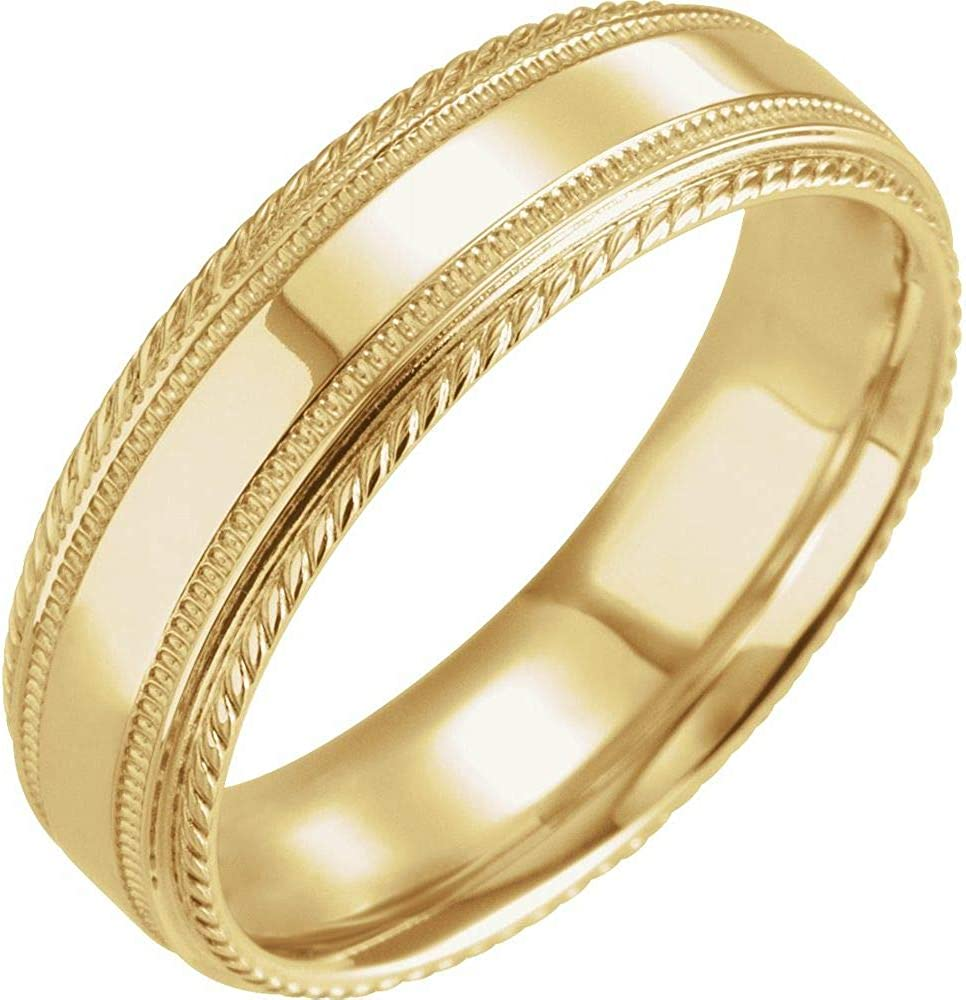 Solid Oakland Mall High material 14k Yellow Gold 6mm Rope Ring Mens Heavy Band Wedding Edge
