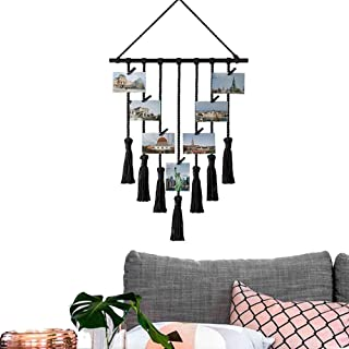 Sunmid Tassel Tapestry Hanging Photo Pictures Hanging Display Macrame Wall Decor with 25 Wood Clips (Black)