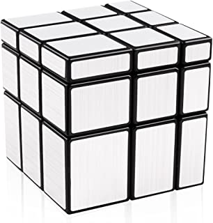 D-FantiX Shengshou Mirror Cube 3x3 Speed Cube Unequal Puzzle Silver Black 57mm