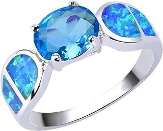 KELITCH Gioielli Anelli da donna Anello con fiore blu Opale Anello in argento sterling 925 placcato 17A-9