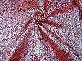 The Yard - Tela de brocado de seda, color coral claro, 44 pulgadas