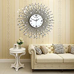 Large Decorative Non Ticking Modern Wall Clock In White