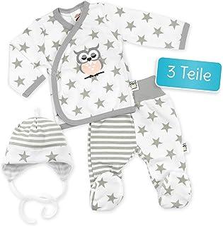 Makoma Makoma Baby Set Wickelshirt  Hose  Mütze weiß-grau | Motiv: Eule Sterne | Babyset 3 Teile mit Sternmotiv für Neugeborene & Kleinkinder | Größe: 3 Monate 62