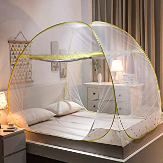 Foldable Zipper Nets Bed Bed Type Simple Children's Mosquito 1.2/1.5/1.8 M Double Door (Color : Yellow, Size : 1.5 m Wide Bed)