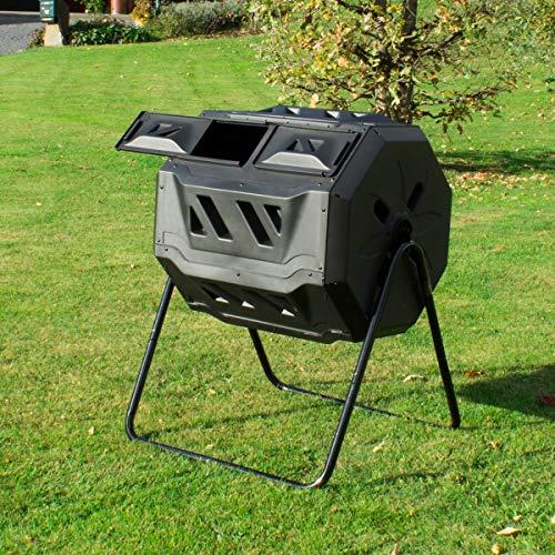 ECD Germany Compostador de Tambor Negro PP de Doble Cámara de 160 litros con Ventilación Giratorio de Plástico Contenedor de Compostaje Rotativo para Reciclado de Residuos Orgánicos Ecológico Jardín