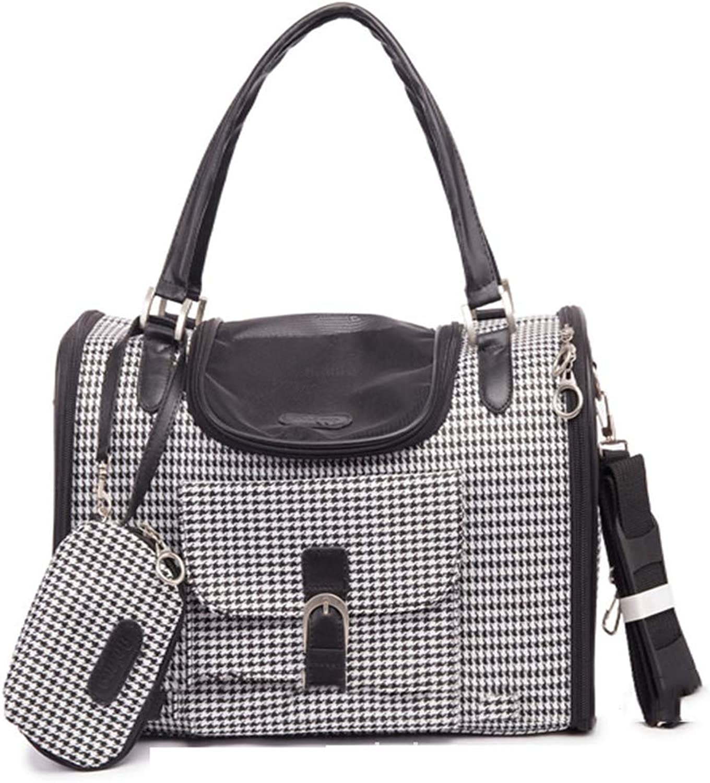 Pet Bag Pet Out Portable Handbag Fashion Lattice Three Open Pet Bag Cat And Dog Bag Backpack Pet Supplies,S
