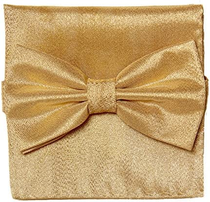 Bow Tie Handkerchief Set Gleaming Metallic Design GOLD Color BowTie Hanky Square product image