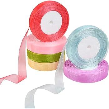 Idealeben オーガンジーリボン 幅約15mm 50ヤード/巻 6色セット キャンディ系 薄地・軽い・透け感 ヘアアクセサリー/ギフトラッピング/ウェディング飾り/手芸/服飾に適用