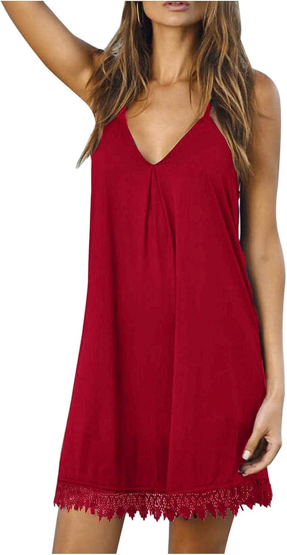 VISOEP Womens V Neck Solid Sleeveless Sling Lace Stitching Dress Party Club Mini Dresses