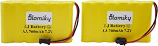 Blomiky 2 Pack 7.2V 700mAh Ni-Cd Rechargeable AA Battery Pack SM 2P Plug for 15 Channel 2.4G Huina 1550 550 RC Excavator 7.2V 700mAh Yellow 2