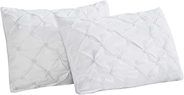Vaulia Lightweight Soft Microfiber Pillow Shams, Pinch Pleat Design, King Size - White, Set of 2