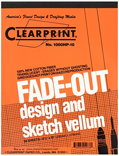 Clearprint Vellum Pad with 10x10 Fade-Out Grid, 8.5x11 Inches, 16 lb.,...
