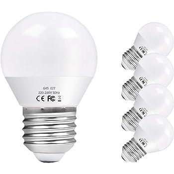Vicloon E27 Bombilla LED G45, 6W equivalente a 60W, 600LM 6500K Blanco Frío E27 Lámpara LED, No Regulable, Angulo de haz de 270°, AC 220-240V - Pack de 5 Unidades: Amazon.es: Iluminación