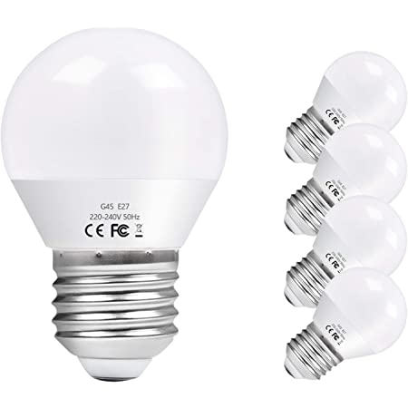 Vicloon Ampoule LED E27,5Pack G45 E27 LED Ampoule,équivalente Ampoule incandescence 40W Ampoule halogène 50W,LED E27 Base Blanc Chaud 3000K,220-240V 6W,550LM,Angle de Diffusion 270°,Non Dimmable