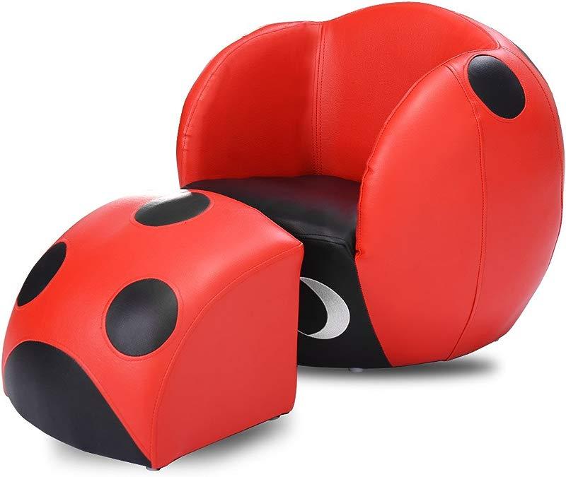 Costzon Kids Sofa Chair Ottoman Children Armchair W Footstool Ladybug