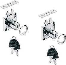 GedoTec® meubelslot, rolluikslot, schroefslot, set voor schuifdeuren en rolluiken, verchroomd gepolijst staal, schuifdeurs...