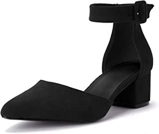 Womens Heeled Ankle Buckle Block Pointed Toe Cut Out...