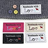 ArtCentury 50Pcs Sewing Labels Tags Handmade Label Clothing 5 X 2cm Tags Handmade Embossed Tag Labels Handmade with Love Label Tags for Clothes Knitted Hats/Bags Sew Accessories (White)