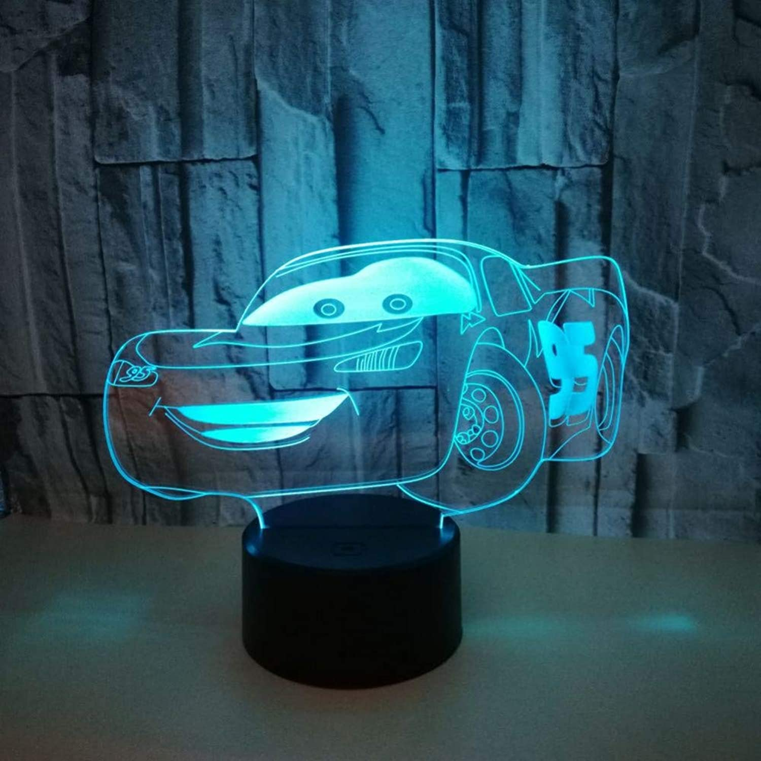 KAIYED 3D Night Light Sports Car 3D Lights, colorful 3D Led Gradual Change Illusion Lamp Touch Remote Control 3D Led Small Night Light