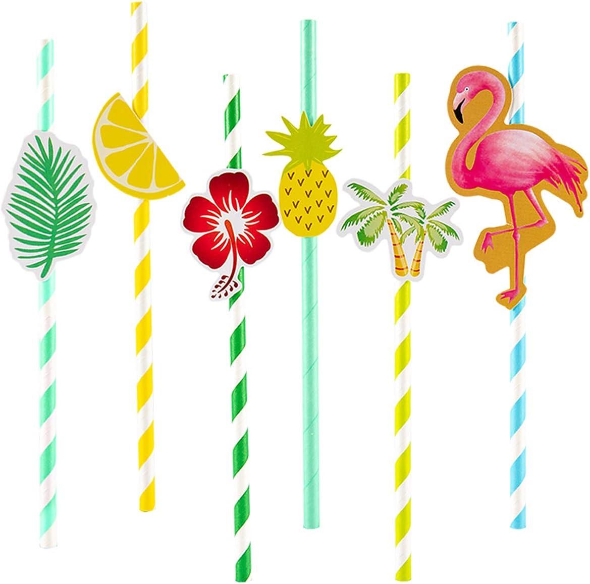 PAMASE 60 pcs Ranking TOP20 Hawaiian Ranking TOP12 Party Tropical Paper Straws Striped Decor