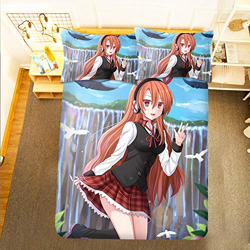Jqchw Akame Ga KILL! :Anime Beauty Chelsea 3D Pattern Quilt Cover With Pillowcase 3 Pieces Bed Linens Sets 100% Microfiber Soft Bedding Duvet Cover Set (No Comforter) with Zipper Clouser