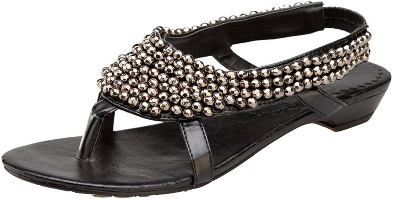 Womens Ladies Fashion Bohemia String Beaded Flat Flip Flops Comfy Slip On Dressy Thongs Summer Walking Sandals