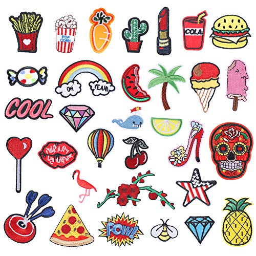 upain Iron on Patches 32 Pieces Sew On Patches DIY Repair Embroidery Applique Stickers Badge for Clothes Jeans Jackets Shoes Girls Boys Children