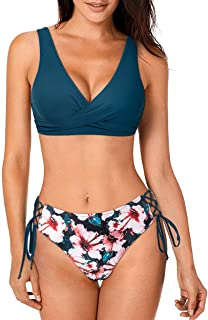 MOSHENGQI Women Tie Side Push Up Bikini Front Cross Lace Up Two Piece Swimsuit