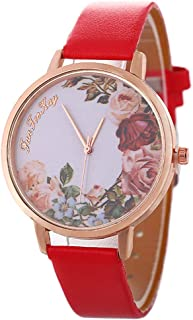 alignmentpai Womens/Girls Casual Wrist Watch Jewelry Flower Pattern Faux Leather Analog Quartz Band Wrist Watches Red