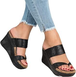 Womens Cutout Open Toe Platform Wedges Slingback Ankle Strap Cork Heeled Sandals