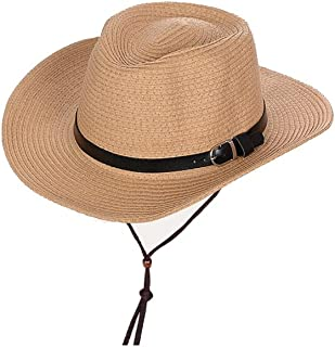 ZXAZBHD Children's Sun Hat Outdoor Summer Men Fishing Straw Sun Protection Beach Hat with Chin Band Outdoor,Travel (Color : Khaki, Size : 56-58cm)